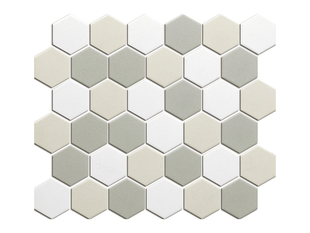 Hexagon beige mix mat 51x59 280x325 mm