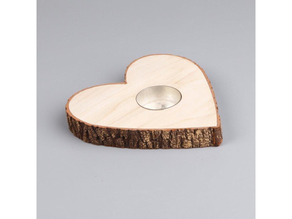 svicen srdce drevo 15cm natural