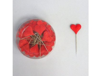 srdce spendlik filc 24ks 2cm cervena