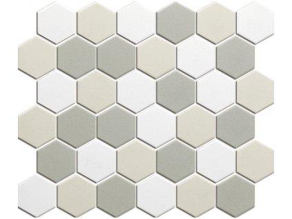 Hexagon beige mix mat 51x59 280x325 mm