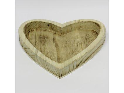 srdce tac drevo 32x32cm natural