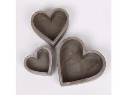 srdce beton 2ks 20 12cm seda