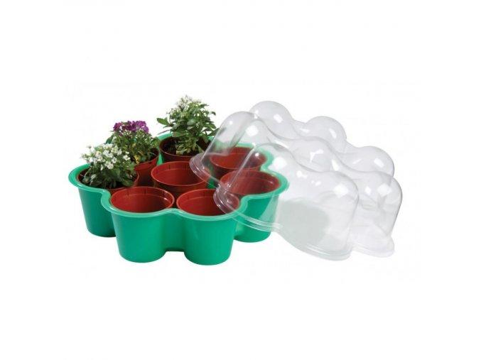 Garland - Miniskleník květina + 8 květináčů zelený