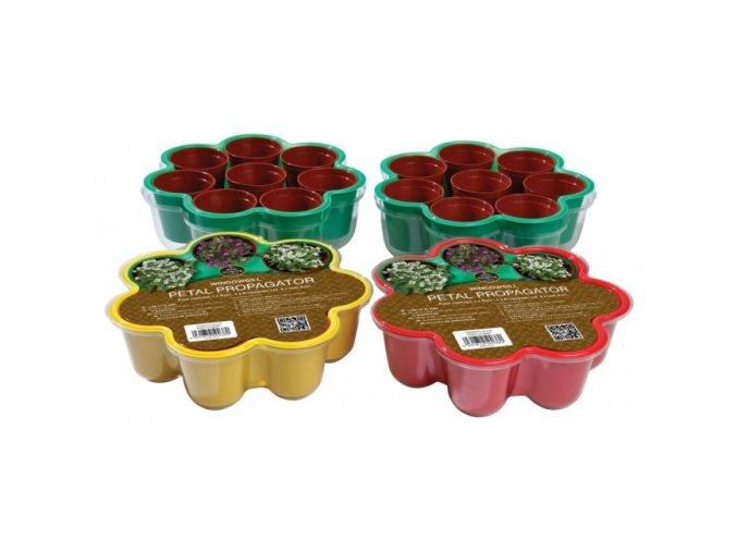 Garland - Miniskleník květina + 8 květináčů žlutý