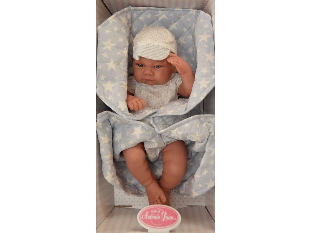 Realistické bábätko chlapec na prešívanej deke Antonio Juan 42 cm