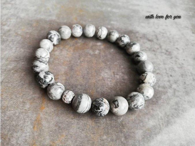 šedý jaspis s kuličkou ve stříbrné barvě