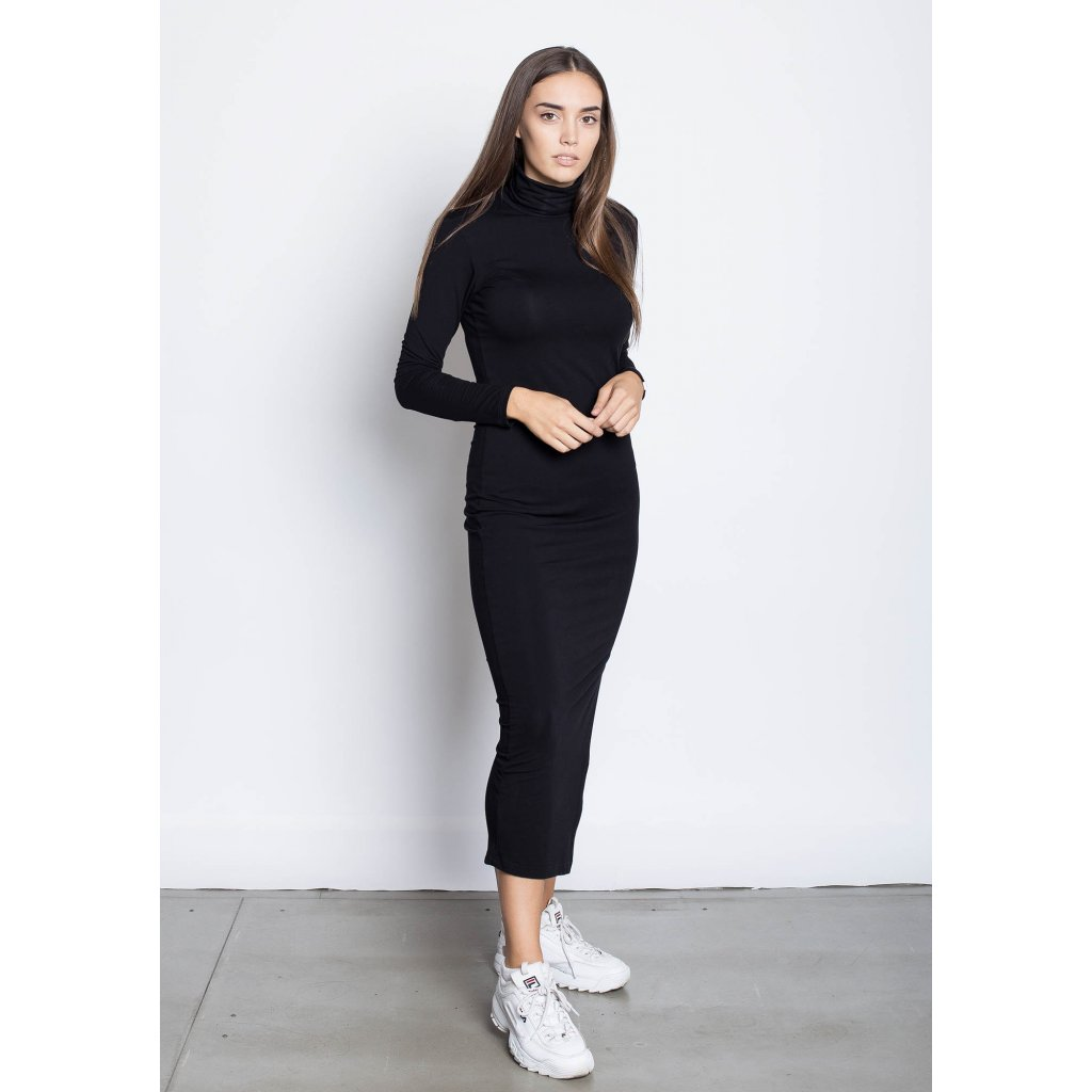 rbln long turtleneck dress black 1