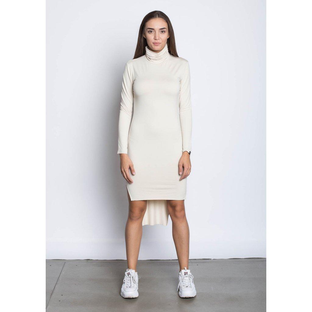 rbln long back turtleneck dress beige