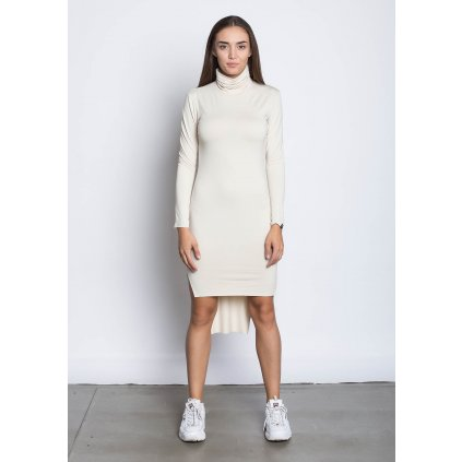 rbln long back turtleneck dress beige