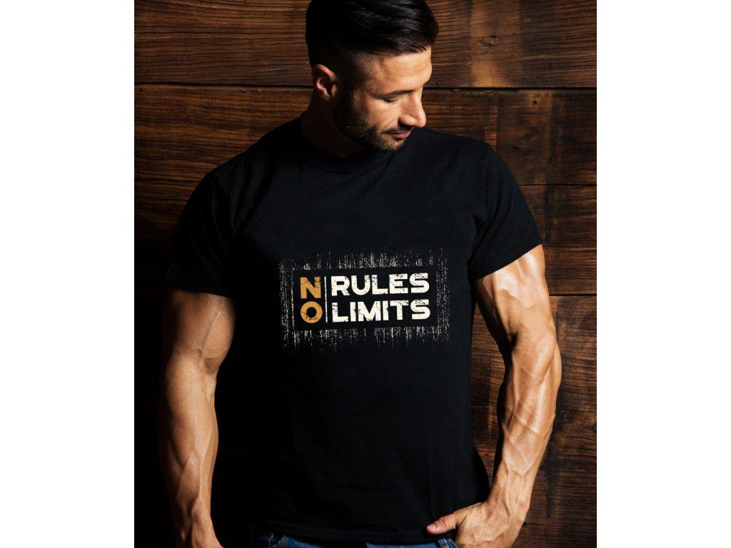 pánské tričko s potiskem NO RULES, NO LIMITS, MAN BODY
