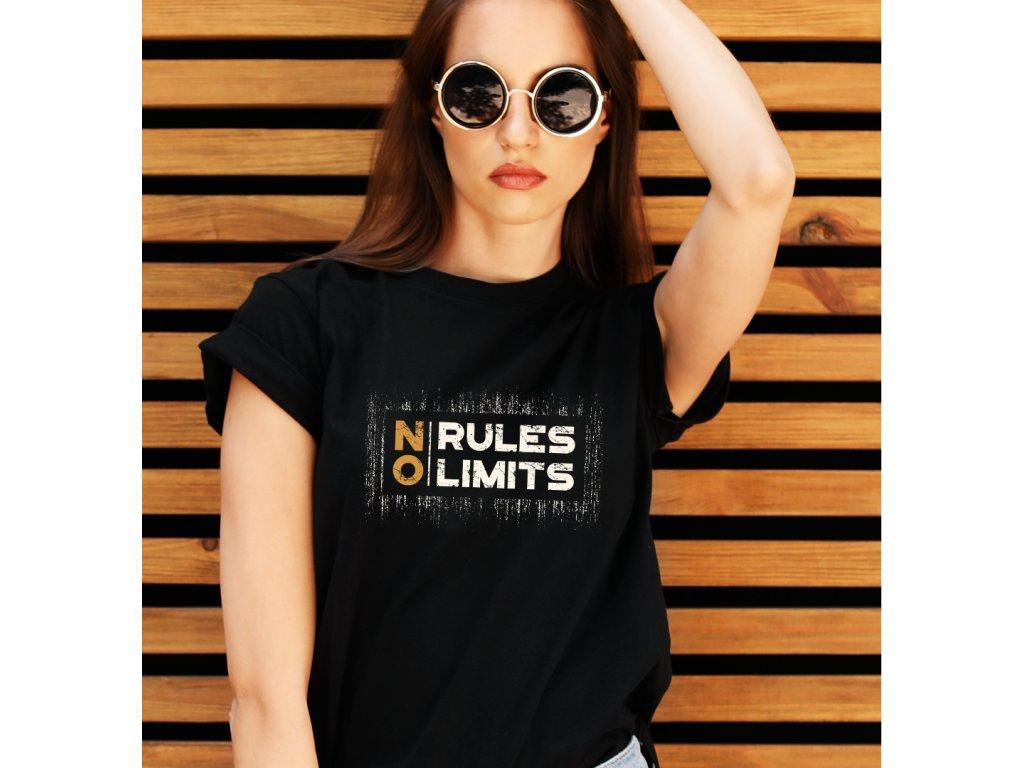 dámské tričko s potiskem NO RULES, NO LIMITS, WOMAN BODY