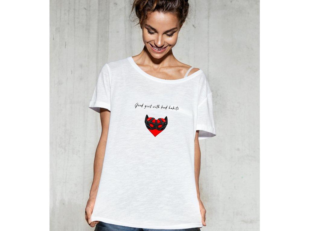 dámské tričko s potiskem good girl, bad habbits, body2, white