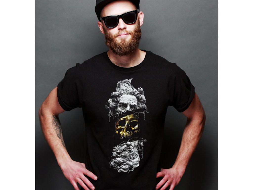 pánské tričko s potiskem golden skul