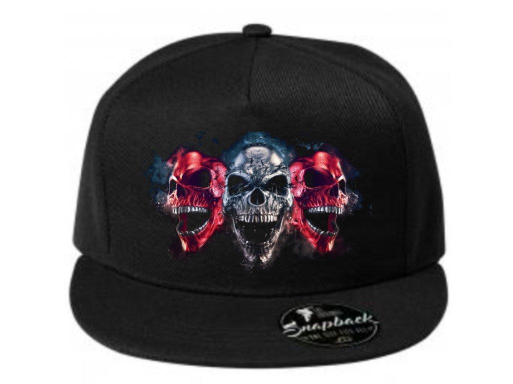 kšiltovka s rovným kšiltem  three skulls