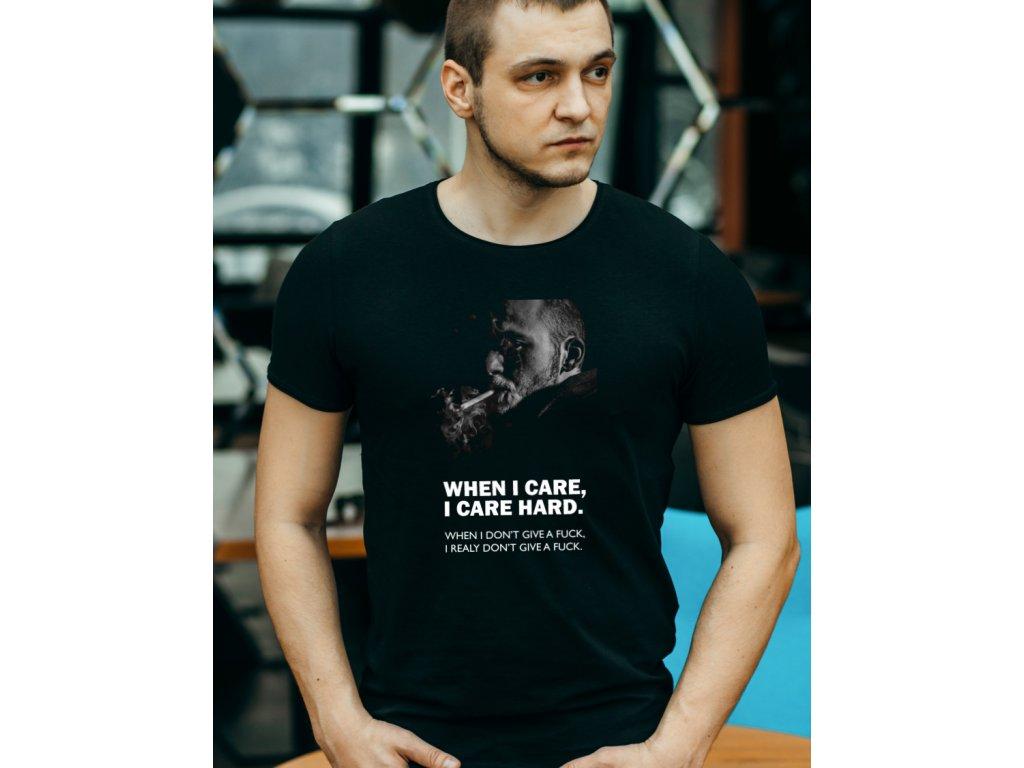 pánské tričko s potiskem I CARE HARD