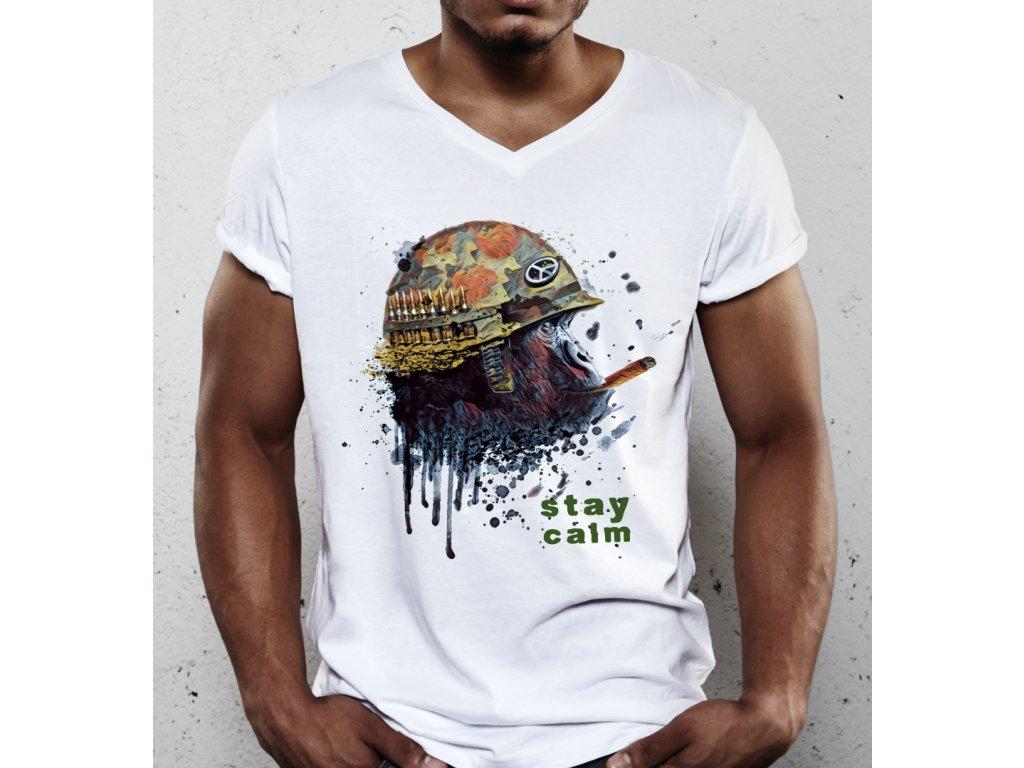 pánské tričko s potiskem stay calm brabuš