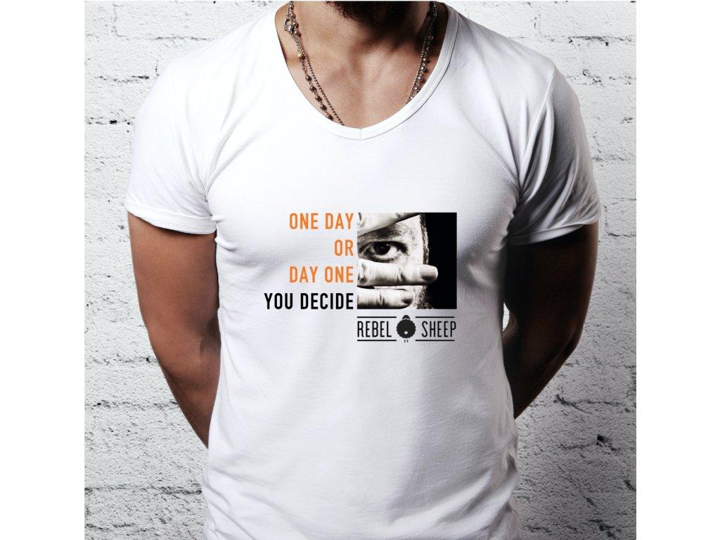 pánské tričko s potiskem ONE DAY,DAY ONE, M W,BODY