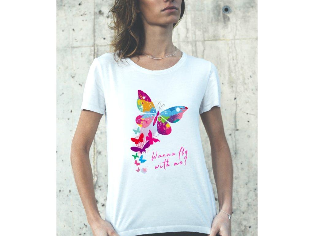 dámské tričko s potiskem fly with me, brabus
