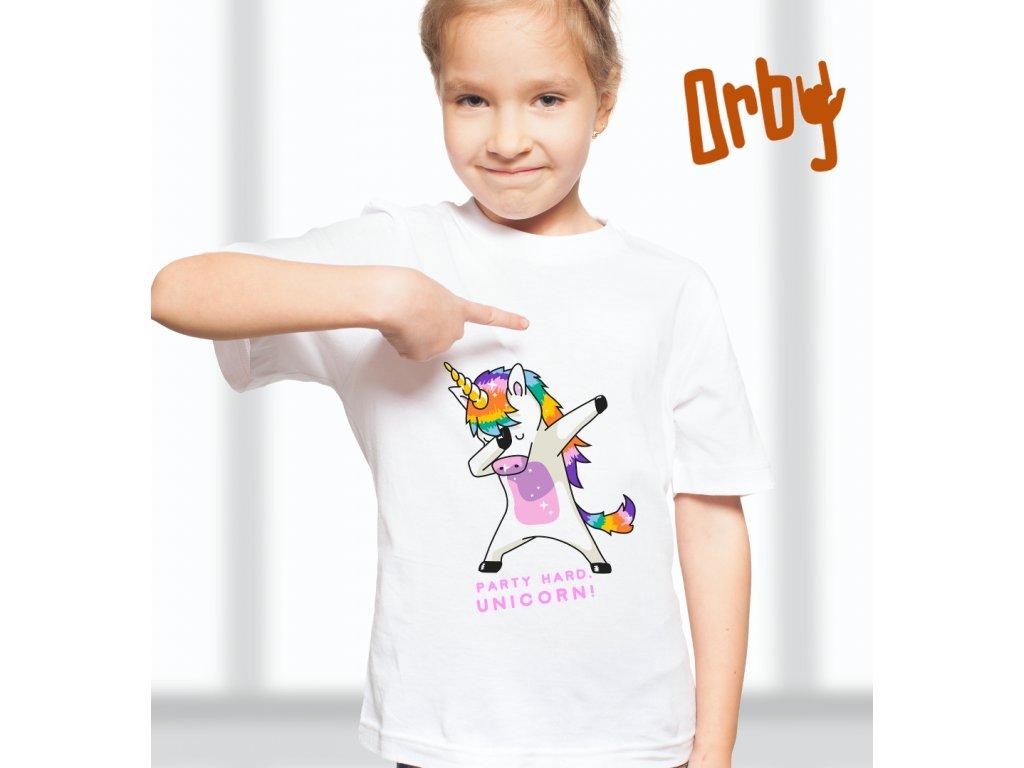 dívčí tričko s potiskem PARTY HARD, UNICORN, BODY
