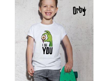 vtipné dětské tričko s potiskem I SEE U, BODY