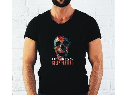pánské tričko s potiskem SLEEP FASTER