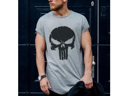 pánské tričko s potiskem big skull, šedé