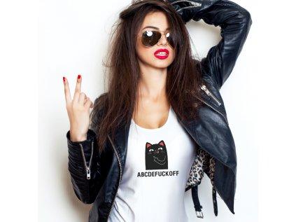 dámské tričko s kočkou ABCDEFUCKOFF