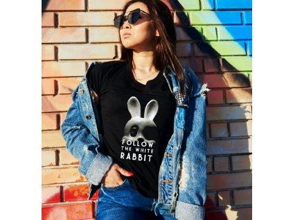dámské tričko s potiskem FOLLOW RABBIT, W,B, BODY