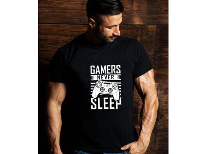 Pánské tričko s potiskem GAMERS NEVER SLEEP, BODY, MAN