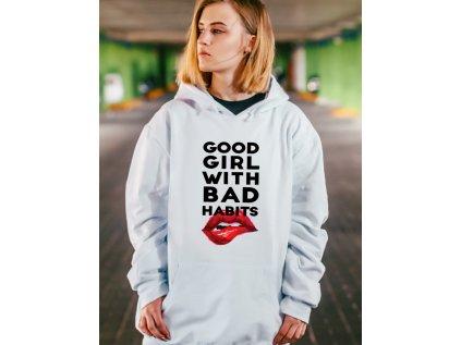 dámská mikina bílá s kapucí good girl with bad habits, mikina, w