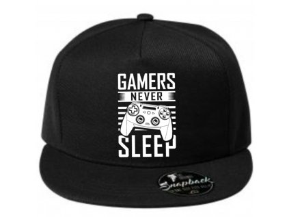 pánská kšiltovka s rovným kšiltem gamers never sleep čepice