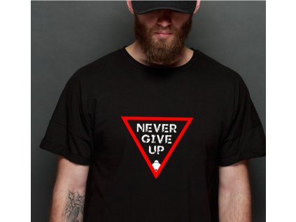 Pánské tričko s potiskem NEVERGIVE UP IG B