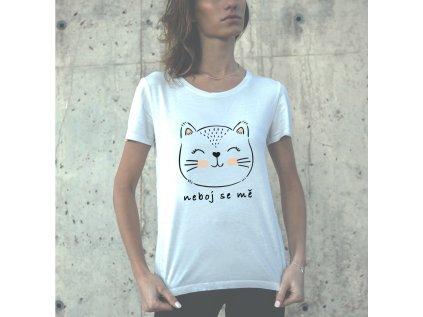 Dámské tričko s potiskem kočky kris neboj se mě, body