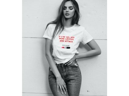 dámské tričko s potiskem add more lipstic
