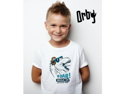 Chlapecké tričko s potiskem DINO MUSIC ON BODY