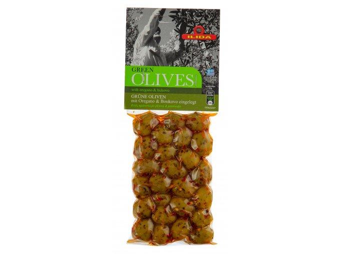 22 10 02 Olivy zelené s paprikou a oregánem, s peckou 150 g
