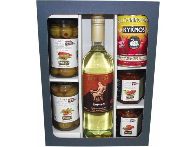Degustace řeckých delikates a bílého polosladkého vína Imiglykos
