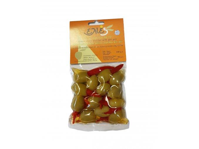 Olivy zelené ILIDA bez pecky plněné PIRI PIRI papričkou 100 g