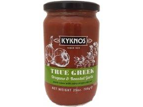 Řecká rajčatová omáčka s oregánem a česnekem.