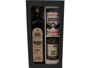 Dárková kazeta Gaia olej Agia Triada z Kréty, olivy plněné sýrem a višně v sirupu