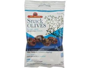 Černé marinované olivy KALAMATA bez pecky 80 g OUTLET