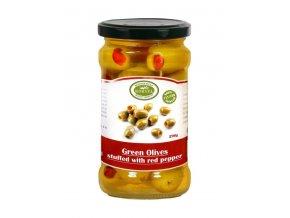 Olivy zelené COLOSSAL plněné paprikou 6x290 g sklo KORVEL KARTON