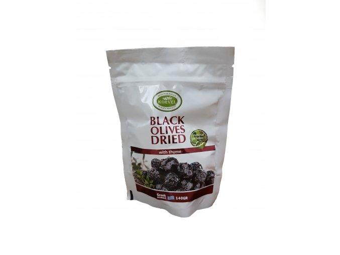 Černé sušené olivy s tamiánem 140 g  KORVEL