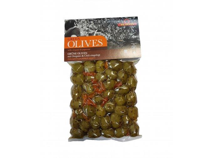 Olivy zelené ILIDA s chilli papričkami a oregánem 250 g LIMITOVANÁ EDICE