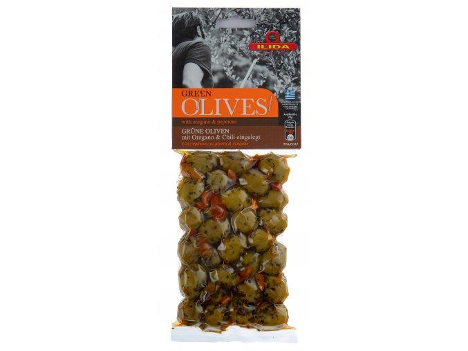 22 10 03 Olivy zelené s feferonkami a oregánem 150 g