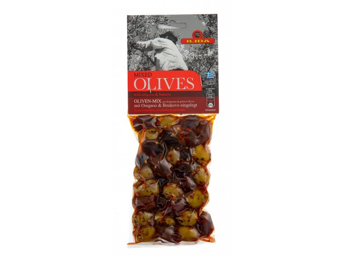 22 10 05 Zelené a černé olivy s oregánem a bukovem 150 g