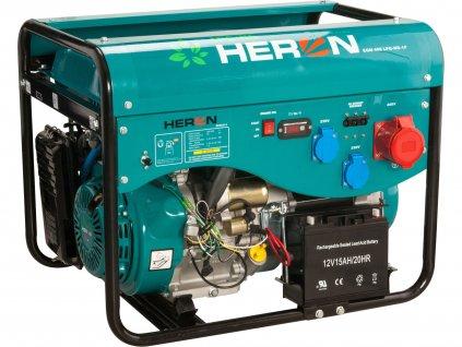 Benzínová a plynová elektrocentrála HERON 13HP/5,5kW (400V) 2x2kW (230V), elektrický start (8896319)