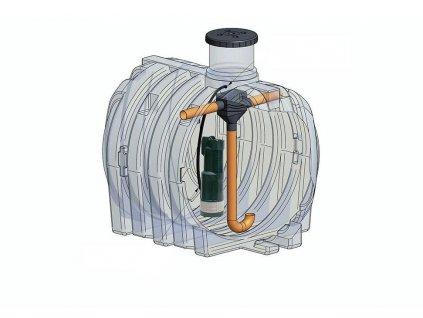 Plastová nádrž na vodu IVAR ELCU 3000 l - KOMPLET