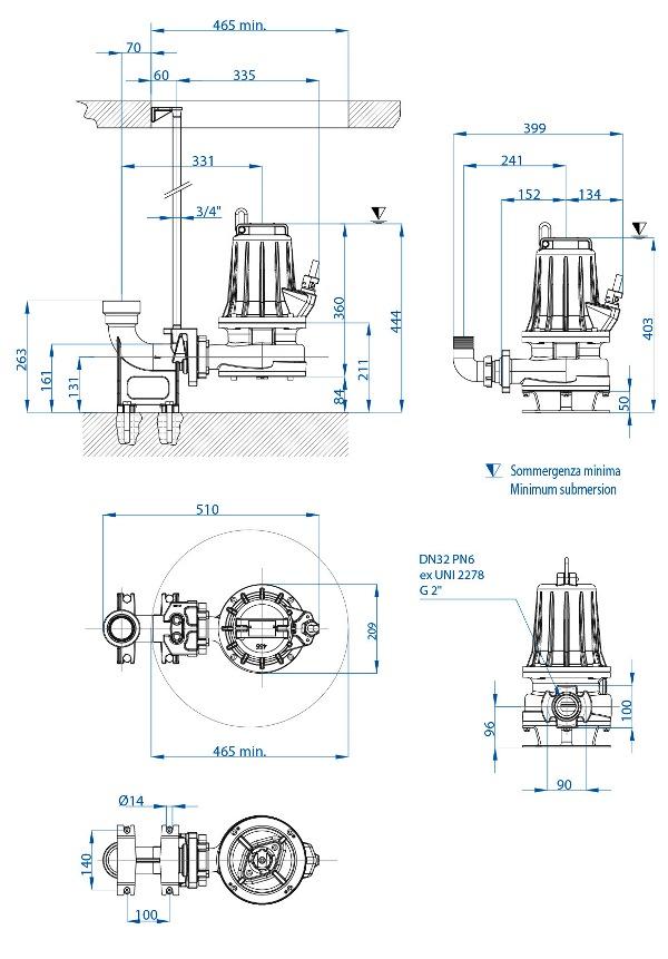Čerpadlo DRENO GT 50/2/125 C.160 400V bez plováku