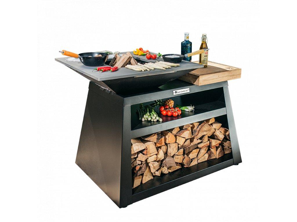 """venkovní zahradní gril s ohništěm - Quan Medium Island Karbon - Venkovní kuchyňský """"ostrov"""" s grilovací deskou"""